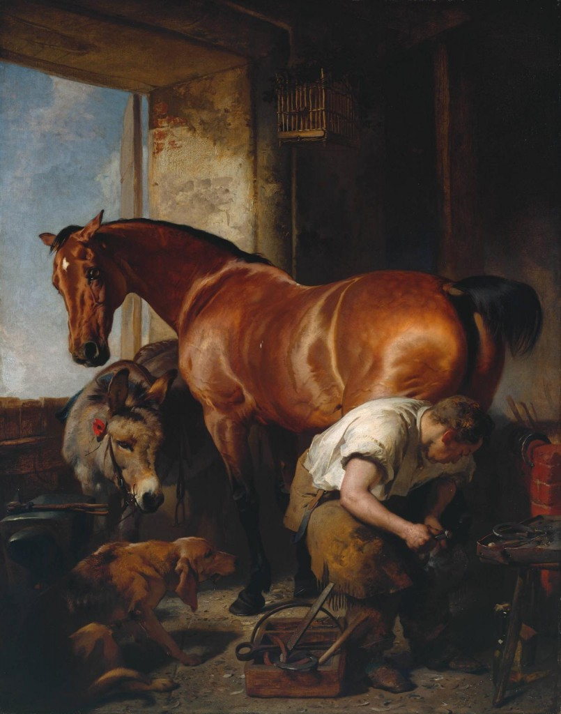 Shoeing exhibited 1844 by Sir Edwin Henry Landseer 1802-1873